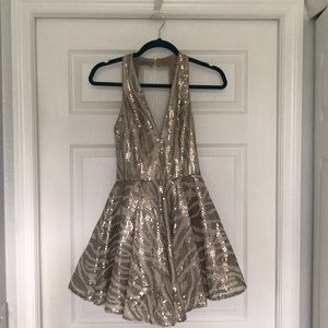 Bebe sequined fit & flare dress NWT